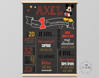 1-year poster - DIGITAL FILE - First Birthday, Personalized, BlackBoard, 1-year-old baby party, child characters