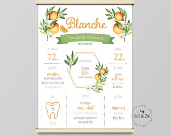Poster 1 year ***DIGITAL FILE *** First birthday, Personalized, Orange, Foliage, Orange blossom, baby party 1 year