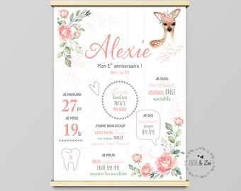 Poster 1 year ***DIGITAL FILE *** First birthday, Personalized, baby party 1 year, poster white background, bambi, roe deer, roses