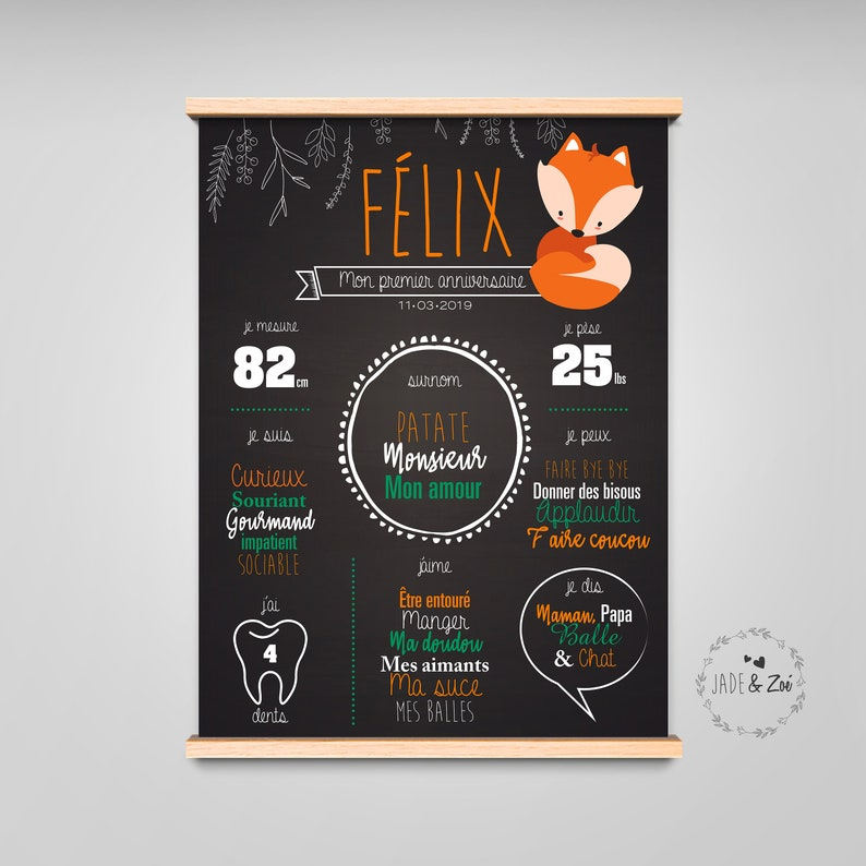 Poster 1 year  DIGITAL FILE  First birthday Personalized image 0