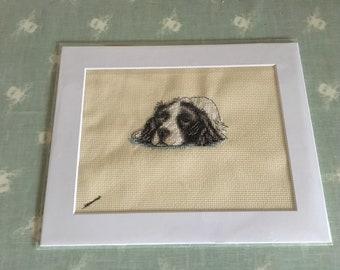 Springer spaniel framed cross stitch
