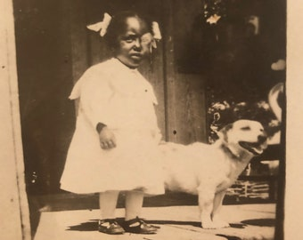 Real Photo Postcard RPPC of Young Girl with Dog and Baby