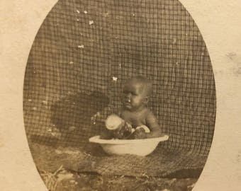 Adorable Baby in Wash Basin Bathtub Real Photo Postcard RPPC