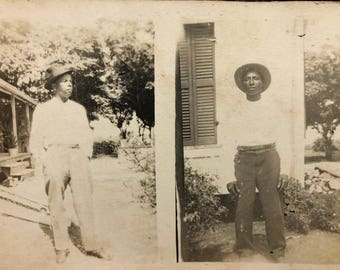 Two African American Men Real Photo Postcard RPPC
