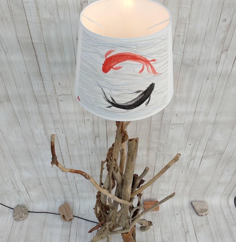 Forest art Tree of Life Driftwood Floor lamp Koi fish Art Rustic home wood decor Koi Fish Floor Lamp Driftwood art Mountain wood art