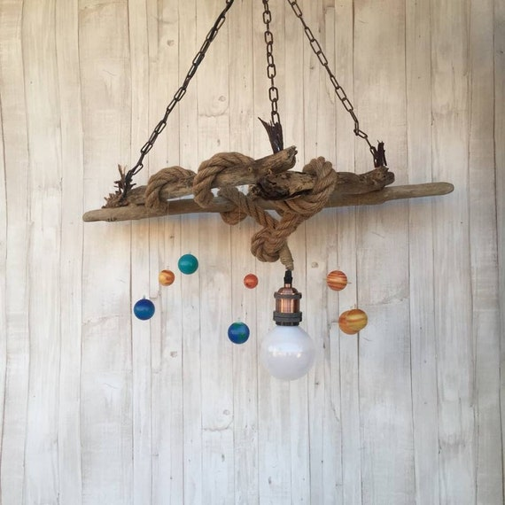 SOLAR SYSTEM Driftwood ceiling pendant light, Kids room decor, Boys gift,  Rustic kids decor, Luminescent glowing planets, nursery art decor