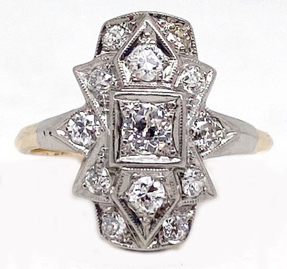 Two tone gold and diamond, Art Deco, Ring