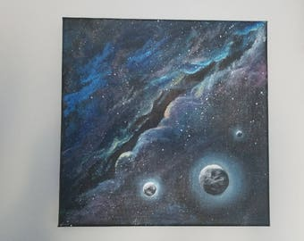 Outer space , Milky Way, acrylic painting , planets , contemporary art .