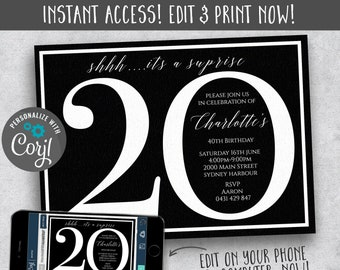 20th Surprise Birthday Party Instant Download Invites Invitations Editable Template