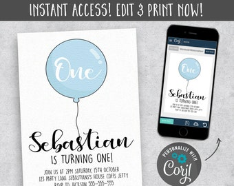 One Blue Balloon Invitation 1st Birthday Invite First Template EDITABLE Download Digital Instant