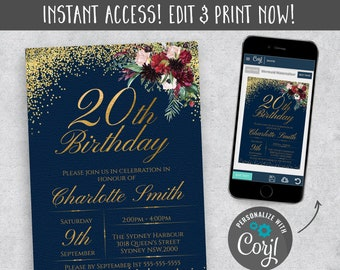 20th Floral Rose Invitation Birthday Party Instant Download Invites Garden Flower Invitations Editable Template