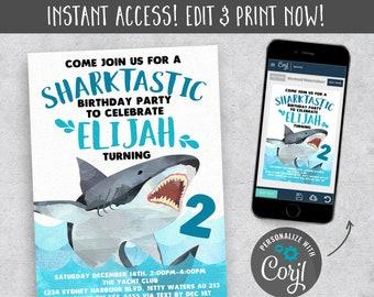 Shark Party Invitation Theme Invitations Instant Download Printable Birthday