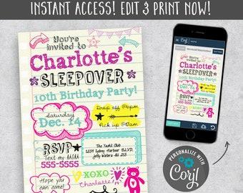 Sleepover Invitation Digital Download Instant Birthday Printable Invite Invites Invitations