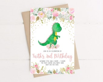 Dinosaur Party Birthday Invitation Girl Pink Instant Download Editable Personalized Dino