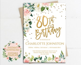 80th Floral Rose Invitation Birthday Party Instant Download Invites Garden Flower Invitations Editable Template