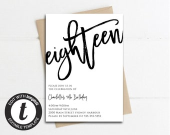 18th Birthday Party Simple Invitation Card Instant Download Invites Invitations Editable Template