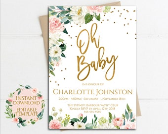 Baby shower invitation girl etsy oh baby baby shower invitation girl invite instant download pink rose invites garden floral invitations editable template filmwisefo