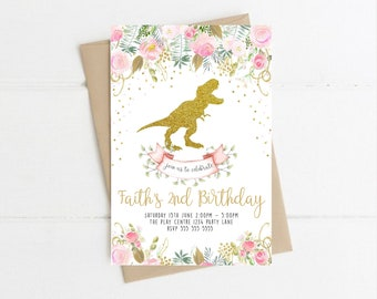 Dinosaur Invitation First Birthday Party Printable Pink Floral Girl Invitations Gold Watercolor Invite