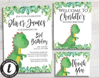 Dinosaur Invitation Birthday Party T Rex Welcome Sign Reptile Invite Boy Thank You Card Printable Instant Download Package Bundle