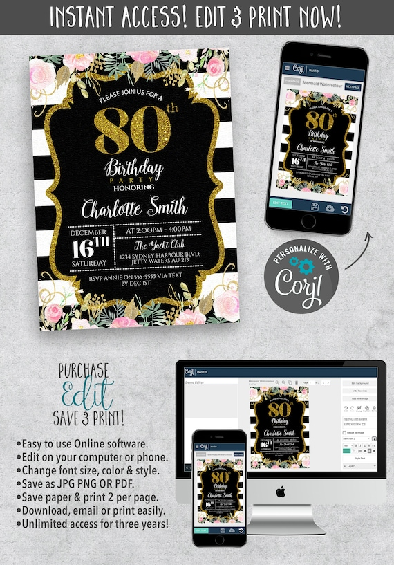 80th Birthday Invitation In Sparkly Gold Card Eighty Years BDay With Watercolor Flower Black And White Strips 5 X 7