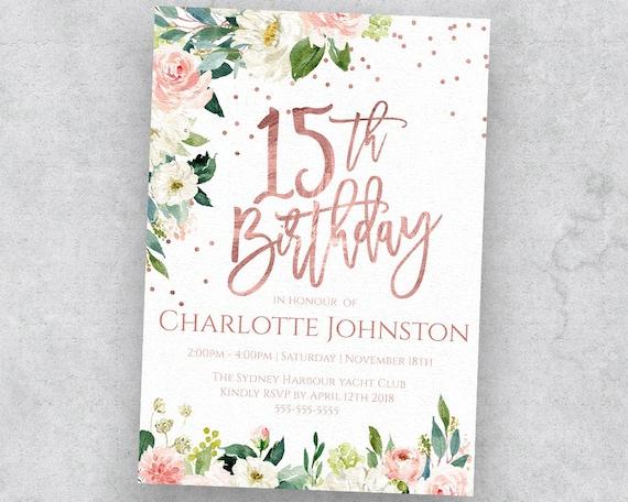 15th Rose Gold Birthday Invitation Quinceanera Blush Pink