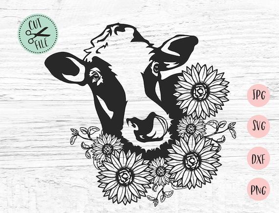 Download Floral Cow svg, Cow Svg, Heifer Svg, Boho Svg, Cow Face ...