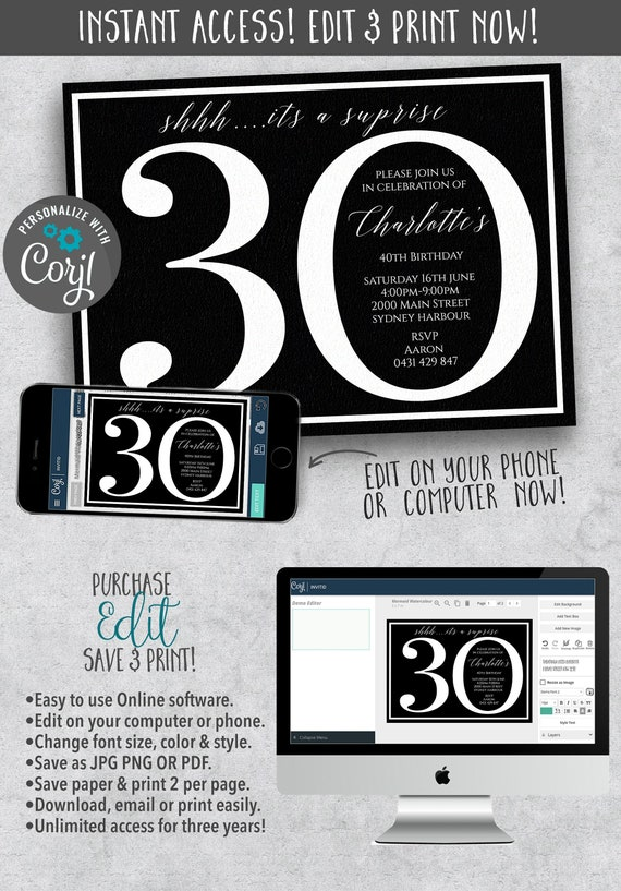 30th Surprise Birthday Party Instant Download Invites Invitations Editable Template