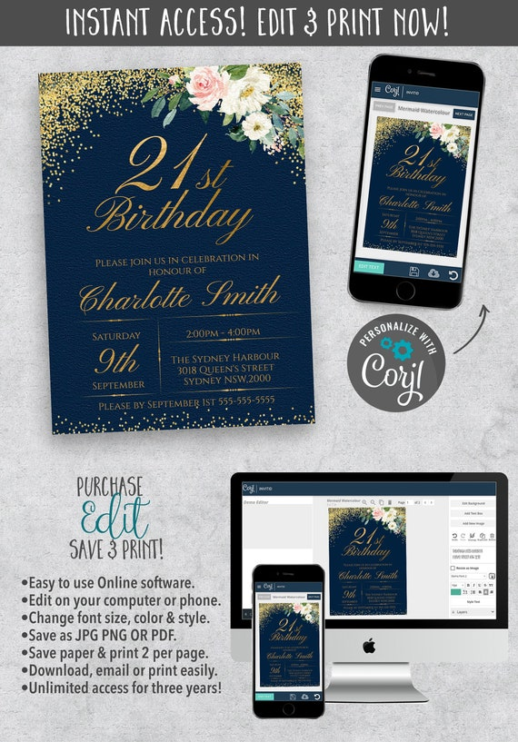21st Birthday Party Simple Invitation Card Instant
