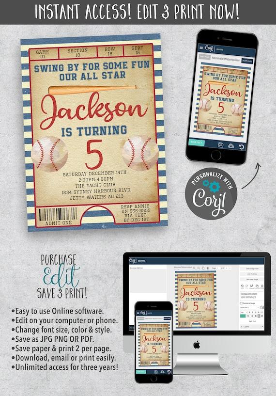 Baseball Theme Birthday Invitation Sports And Games Theme