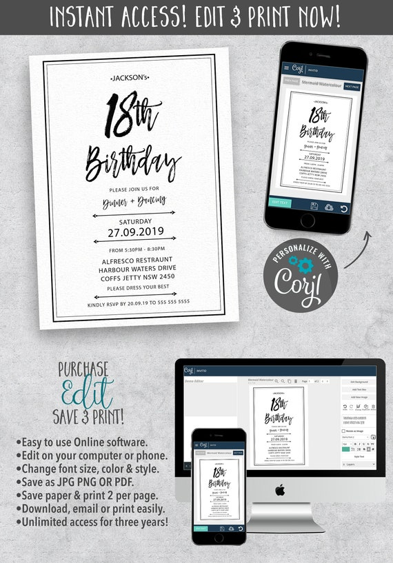 Turning 18th Birthday Invitation In Black And White Theme Eighteenth Party Editable