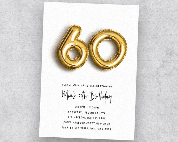 60th Birthday Gold Balloon Invitation Instant Download