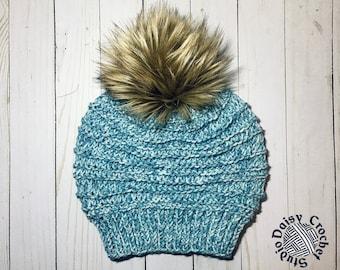 Women's Winter Hat   Mens Winter Hat   Unisex Beanie   Knit Beanie for her   Faux fur pom pom hat   Knit beanie   knit winter hat
