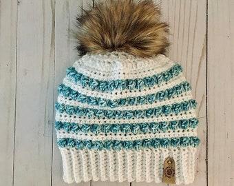Women's winter hat   women's beanie   crochet hat   faux fur pom beanie