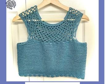 Justine Crop Top Crochet Pattern   womens crochet pattern   Ladies top pattern   shirt pattern  Summer crochet pattern   blouse pattern