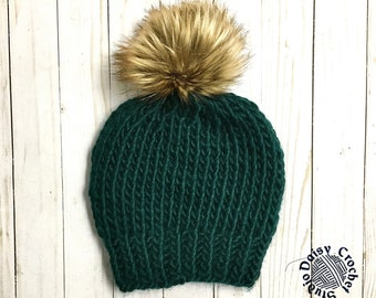 Unisex Knit Beanie   Men's Winter Hat   Women's Winter Hat   Winter Hat for her   Faux Fur Pompom    Chunky Beanie   Winter Beanie