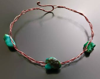Genuine Natural Crystal Turquoise & Copper Braided Bangle Bracelet - Turquoise, Copper