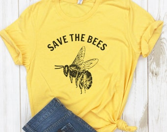 2bfc7b83752 Save The Bees Shirt - Environmental Shirts - Vegan Clothing - Vegan T-shirt  - Bumble Bee - Honey Bee - Protect Our Planet