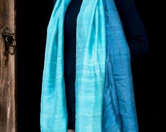 Stunning Thai Silk Scarf - Ocean Blues
