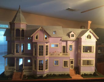 Victorian Inspired Miniature House Lilac/White/Pink  with Blue/Grey Roof 6ft x 3ft