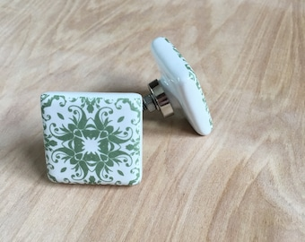 Square Ceramic White and Green Knob