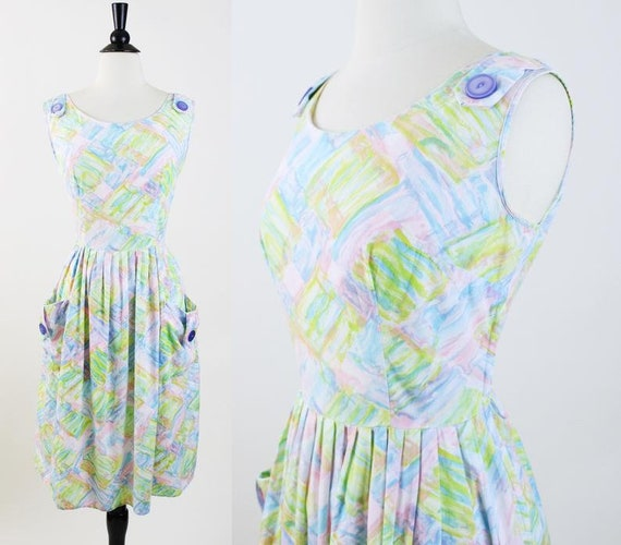 Vintage 1950s Watercolor Print Day Dress