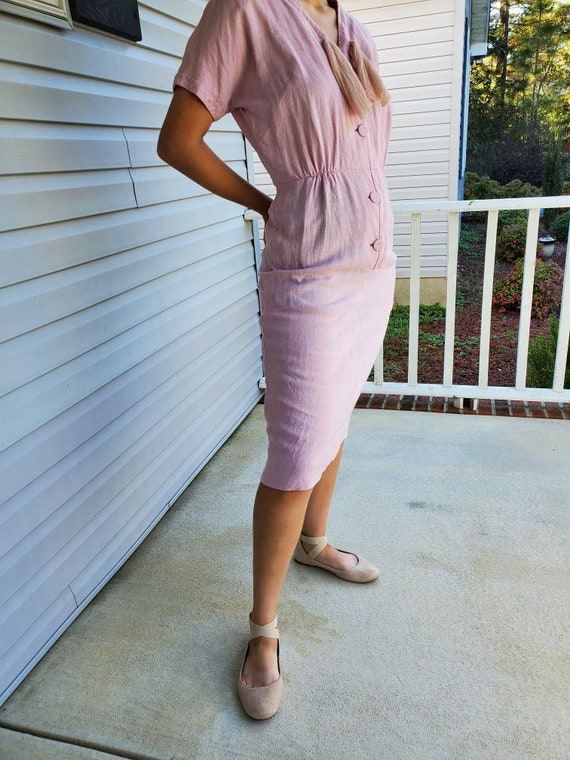 Vintage Early 1950s Pink Wiggle Dress
