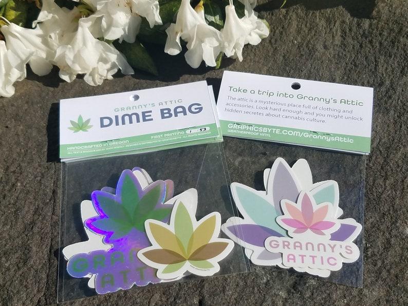 Granny's Attic Dime Bag Cannabis Sticker Pack image 0