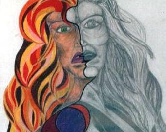 The Gespraltene woman-pencil and crayon drawing before 1999