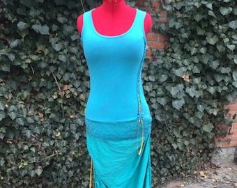 Magic dress, party dress, elf dress, turquoise, orange, lace