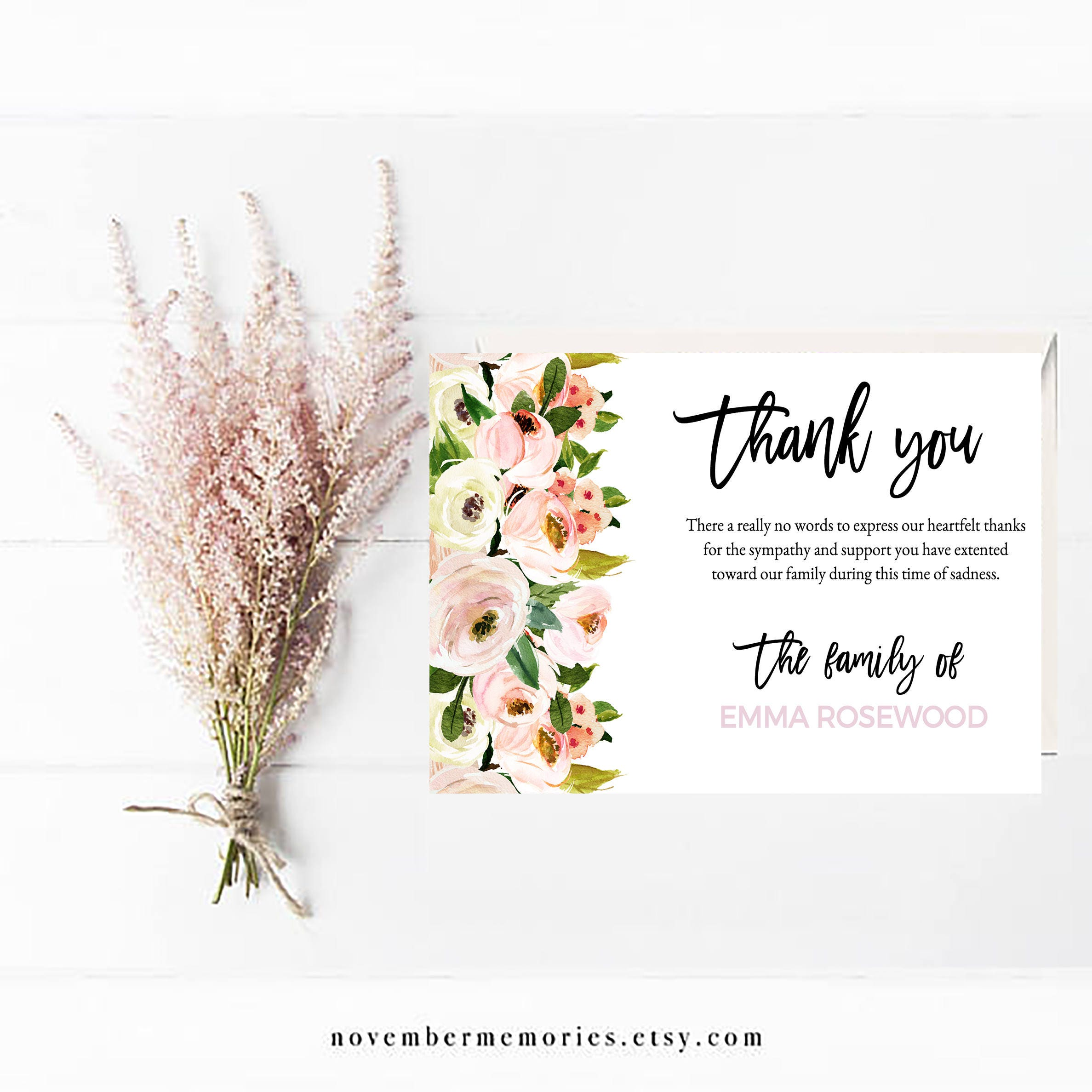Funeral Acknowledgement Card Template Sympathy Acknowledgement Etsy