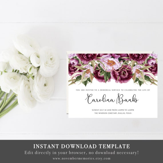 Celebration Of Life Invitations Template Funeral Announcement Printable Memorial Service Mourning Invitation Cards Invites Purple