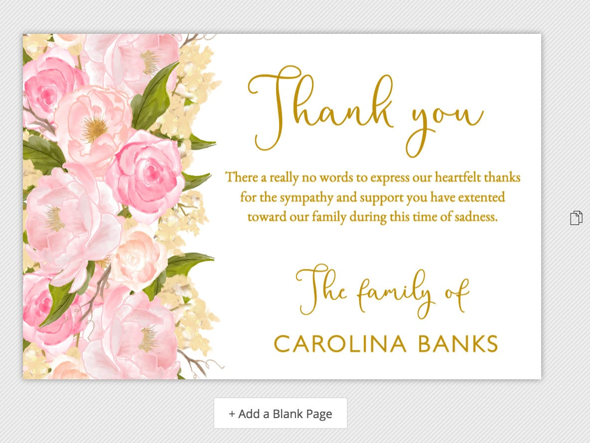 Funeral thank you cards sympathy thank you notes bereavement etsy funeral thank you cards sympathy thank you notes bereavement celebration of life template pink and gold printable editable instant download izmirmasajfo