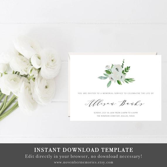 Celebration Of Life Invitations Cards Funeral Invitation Template Editable Ideas Memorial Service Memorial Template Funeral Cards Woman