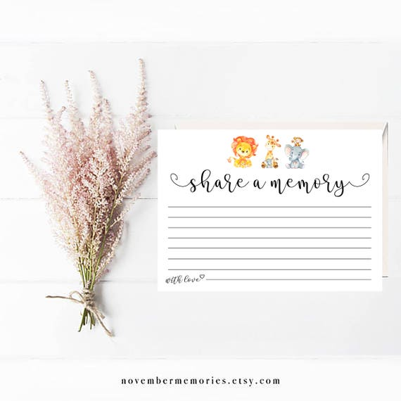 share a memory card funeral kids card template sympathy etsy